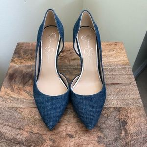 a330e017639 Jessica Simpson JP Livvy blue denim pumps heels